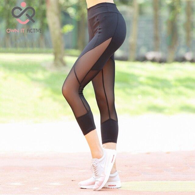 0ee61c3501 Sexy Mesh Patchwork Sportowe Legginsy Kobiet Fitness Odzież Czarny Siłownia  Sportowa Joga Spodnie Running Rajstopy P152