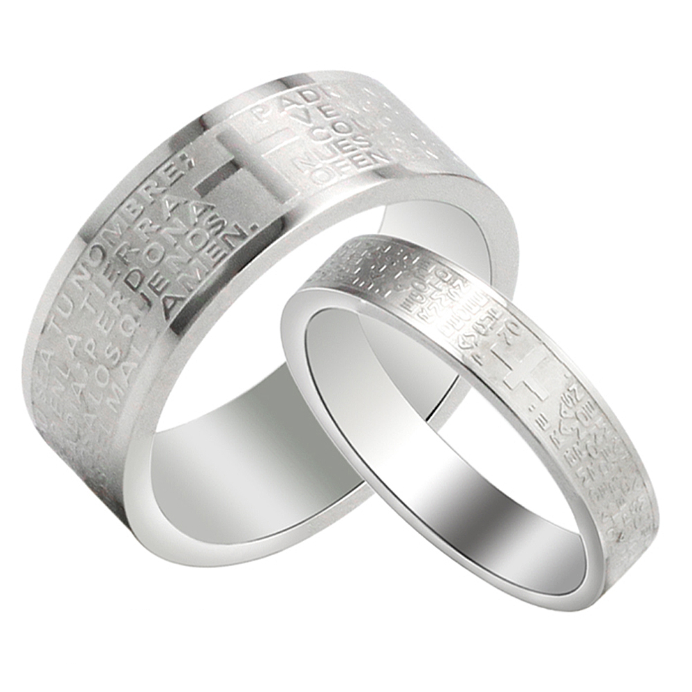 Titanium Steel His And Hers Wedding Band Engraved Bible Cross Couple Ring  For Lovers Romantic Anniversary