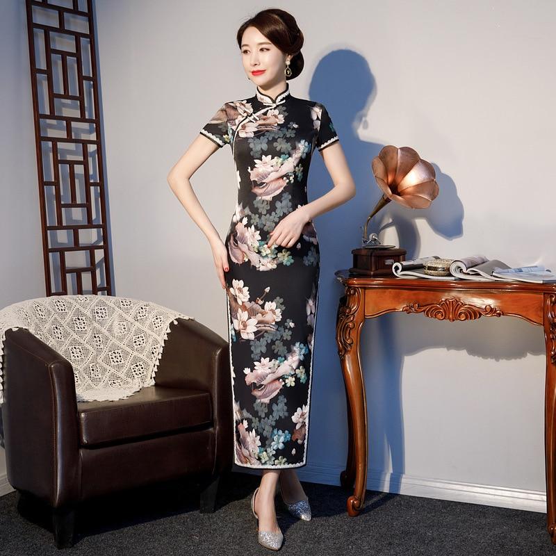S 4XL Long Cheongsam Vintage Chinese style Dress 2019 Fashion Womens Rayon Qipao Slim Party Dresses
