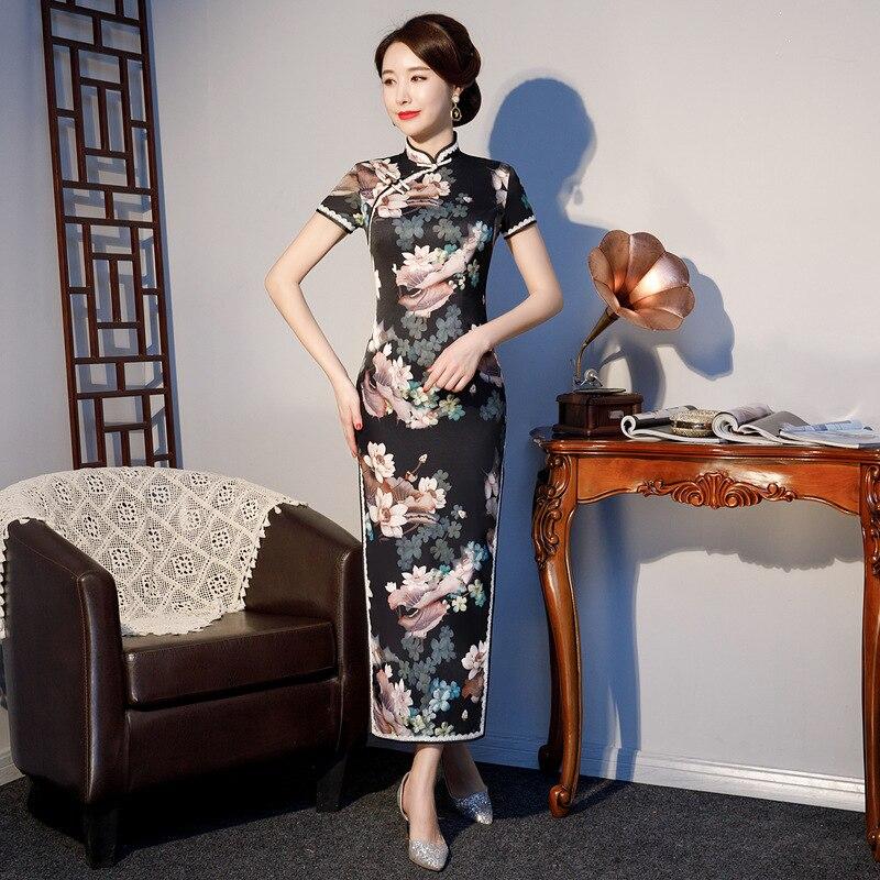 S 4XL ロングチャイナドレスヴィンテージ中国風のドレス 2019 ファッションレディースレーヨン袍スリムパーティードレスボタン Vestido プラスサイズ  グループ上の レディース衣服 からの ドレス の中 1
