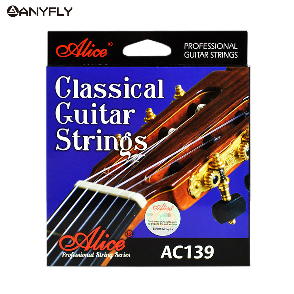 Alice AC139 Classical Guitar Strings Titanium Nylon Silver-plated 85/15 Bronze Wound 028 0285 inch Normal and Hard Tension olympia brand classical guitar string 1 set 6 strings high quality clear nylon strings normal or hard tension original