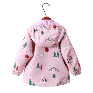 Image 2 - Детские толстовки с капюшоном для девочек 2 9 лет, повседневные ветрозащитные куртки с принтом животных для девочек, весна лето 2019
