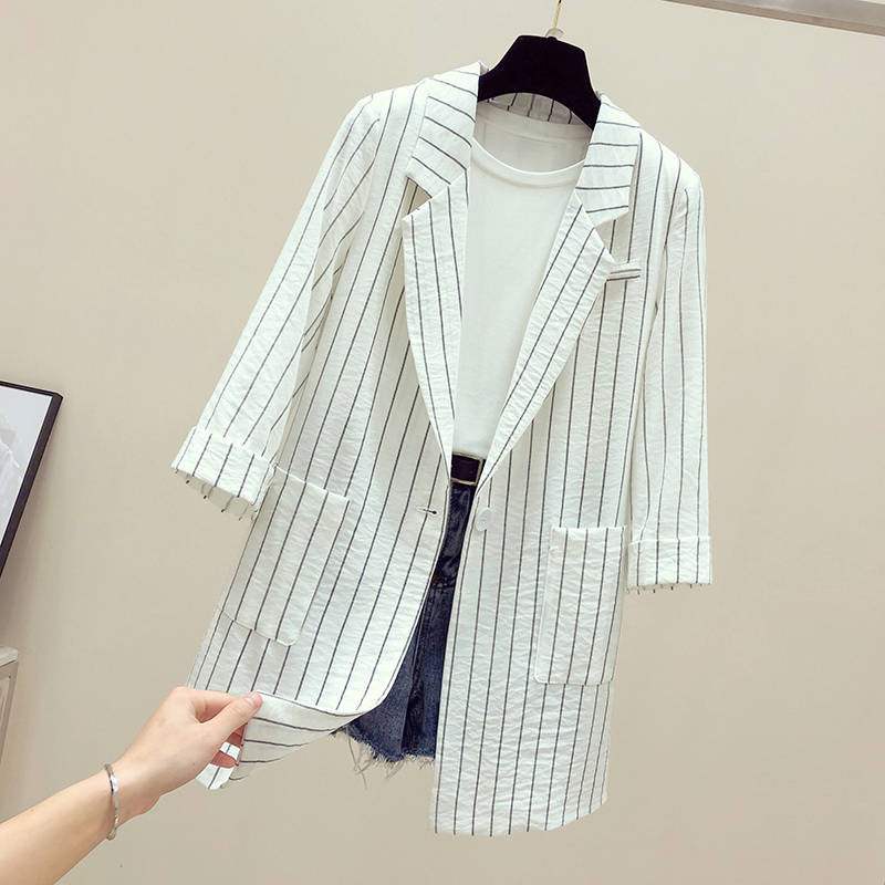 2019 Summer Thin Women Blazers And Stripe Suit Jackets New Spring Autumn Casual Office Slim Female Jacket Plus Size S-4XL R935