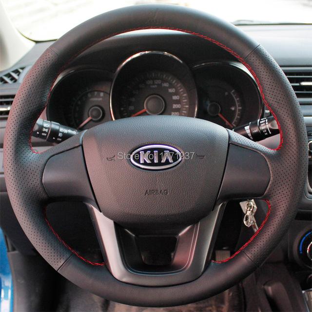 Caso para KIA K2 volante cobre couro Genuíno Interior decoração do carro especial DIY Mão-ponto Car styling