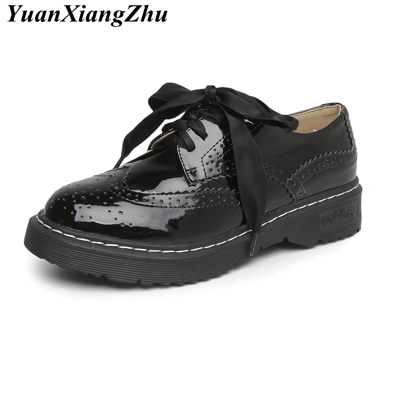 Women Platform Shoes Woman Brogue Patent Leather Flats Black Lace Up Footwear Female Flat Oxford Shoes For Women Big Size 33-43