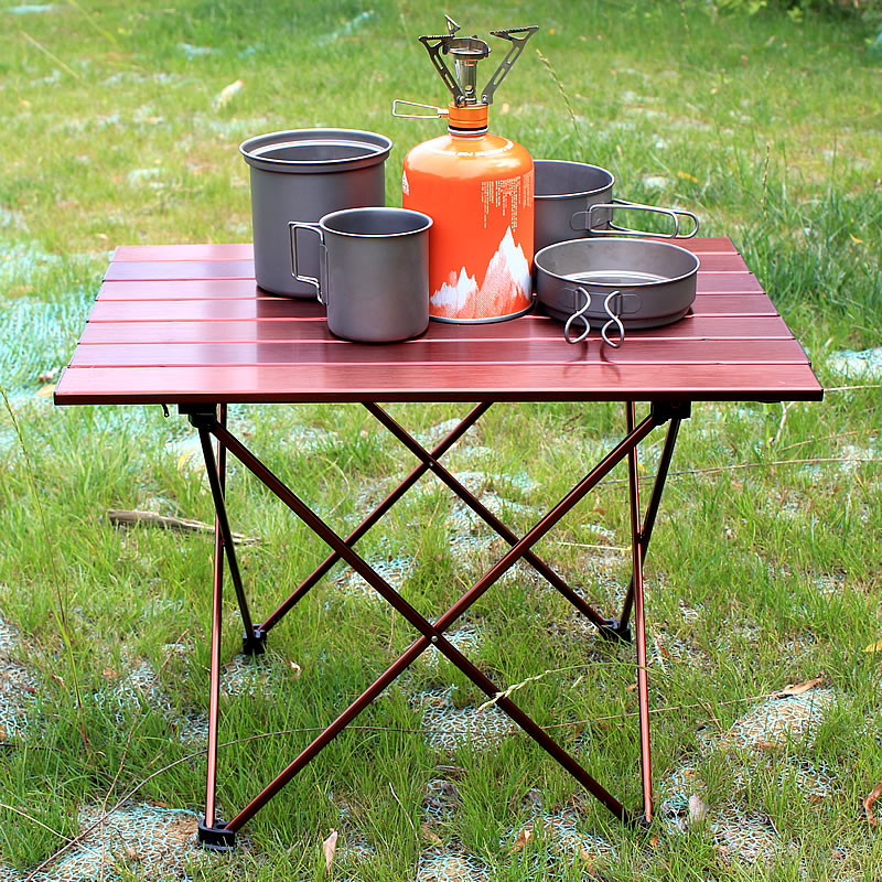 Brown Aluminum Portable Foldable Folding Table  Camping Table