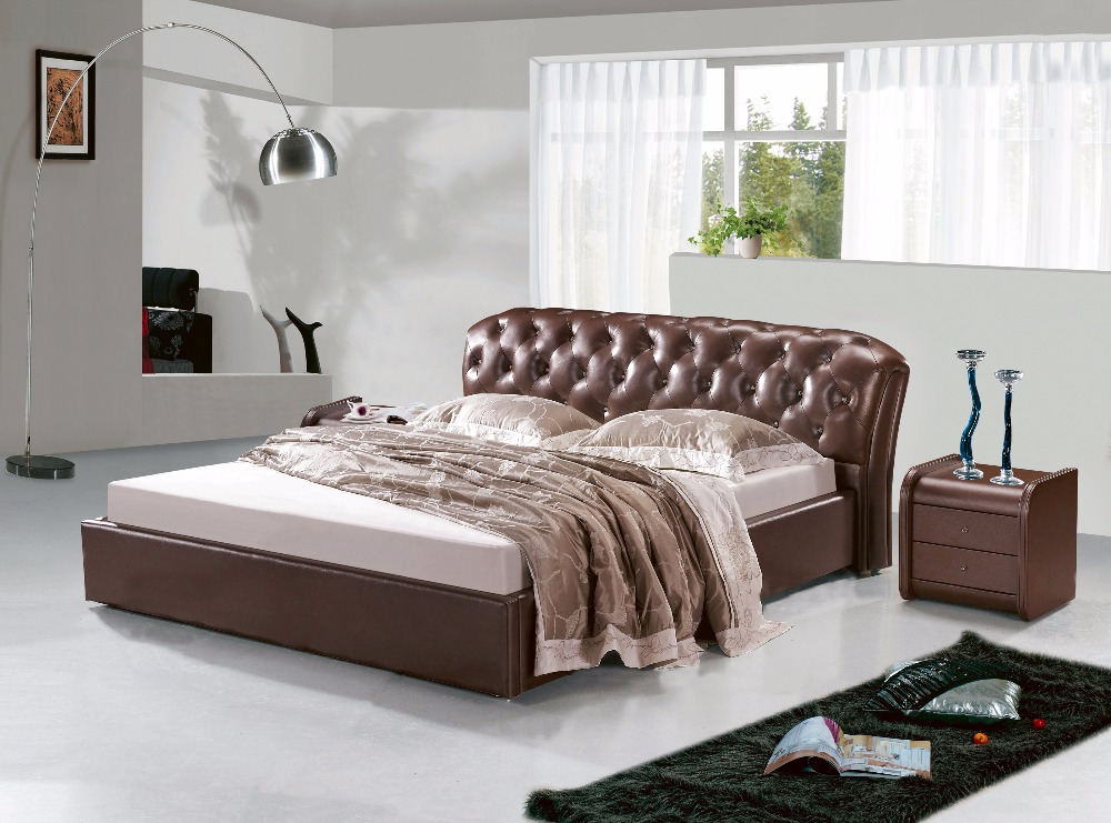 Post Modern Real Genuine Leather Bed / Soft Bed/double Bed King/queen Size  Bedroom Home Furniture With Storage Box And Sideboard In Beds From Furniture  On ...