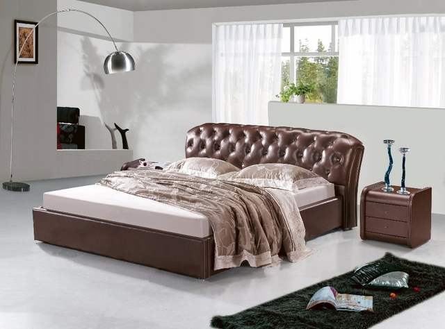 Online Shop Post Modern Real Genuine Leather Bed Soft Beddouble
