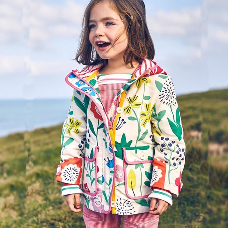 Kidsalon Girls Jackets and Coats Flower Printed Outdoor Baby Girl Windbreaker Coats Hooded Kids Jacket Children Winter Outerwear
