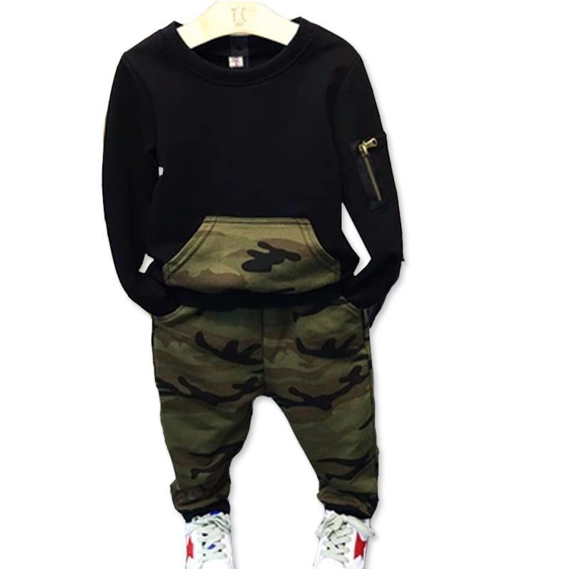 Camouflage Boys Clothing Set 2017 New Spring Autumn Kids Clothes Black Shirts Pants Childrens Tracksuits for Boys Sports Suit