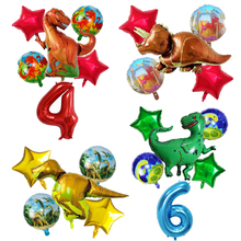6Pcs Big Dinosaur Foil Balloons 30inch number balloon Birthday Party jurassic world Decora