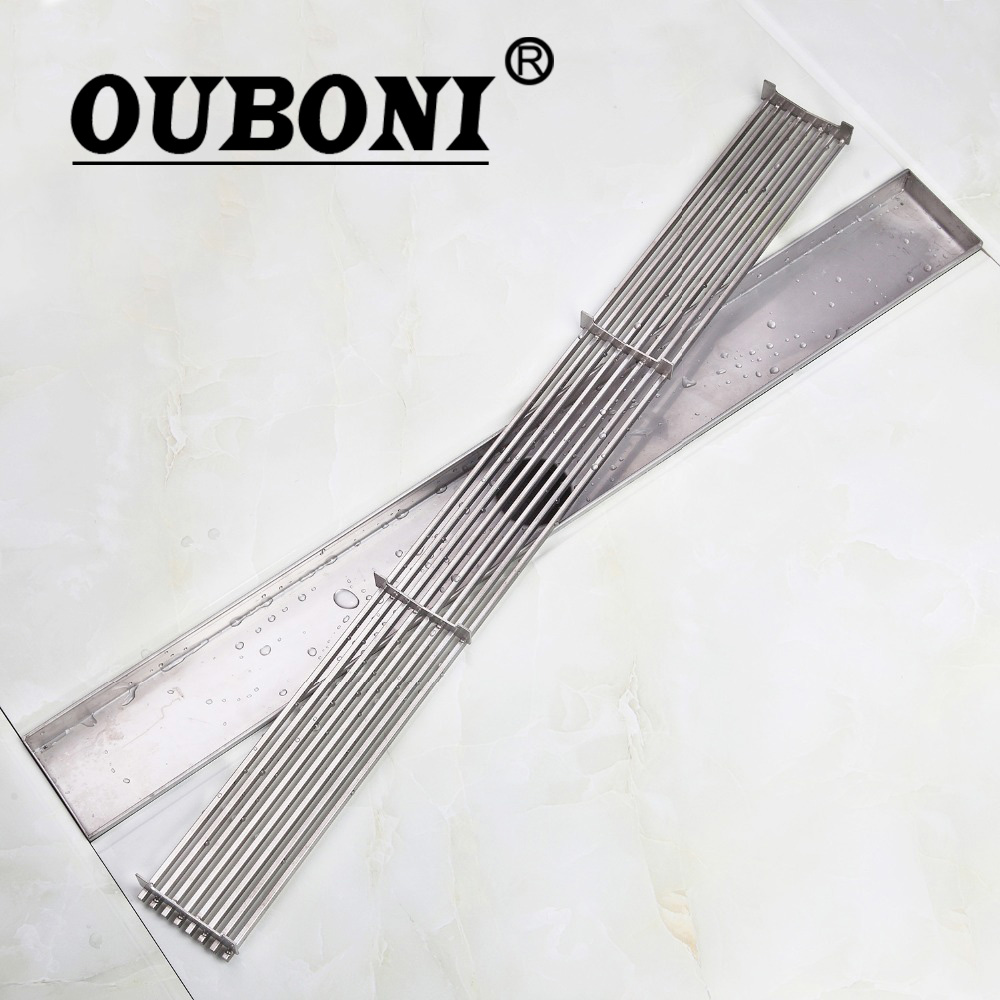 OUBONI 600 Stainless Steel 304 Linear Shower Drain, Horizontal Drain, Floor Waste, Tile Insert Deodorant Shower Channel Chrome 70cm 304 stainless steel linear nickel brushed toilet floor drain strainer grates waste bathroom shower overflow part pjdl015 5