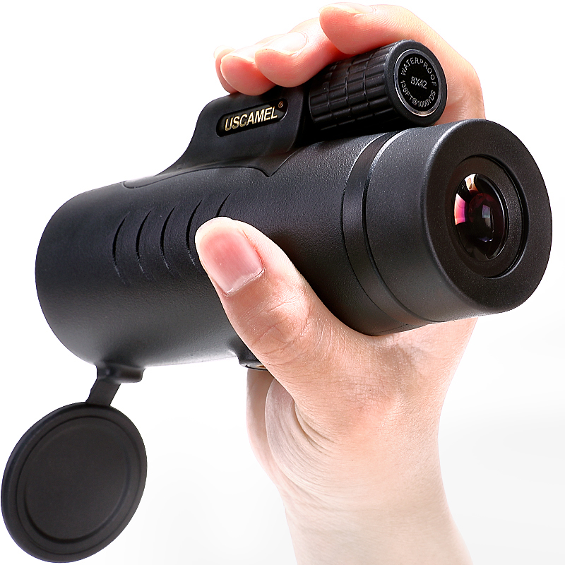 USCAMEL 8X42 Monocular Compact Hunting BAK7 Clear Vision for Bird Watching Waterproof Telescope HD Black Army