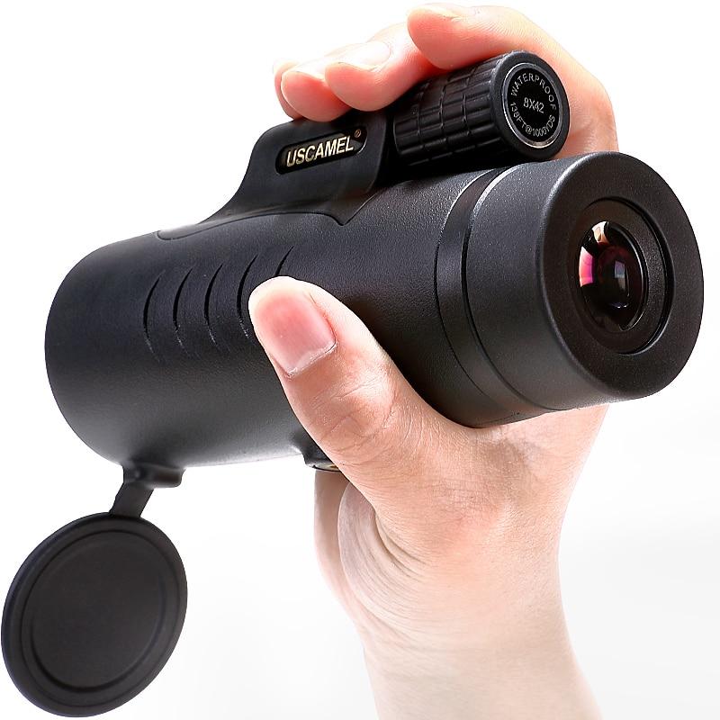 USCAMEL 8X42 Monoculare Compatto Caccia BAK7 Visione Chiara per il Bird Watching Telescopio Impermeabile HD (Nero, Esercito verde)