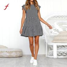 Womens Dress Country style Striped Sleeveless Casual Summer Beach Dresses Feitong slim soft touch dress summer new arrival 2019