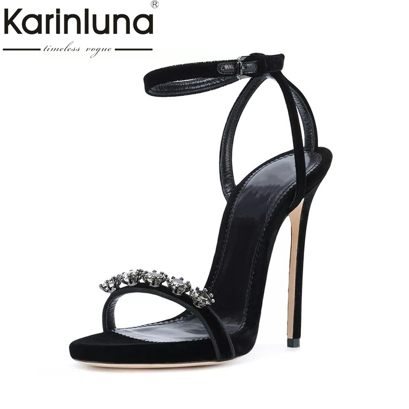 Karinluna 2018 Large Size 33-43 Brand Design Crystals Summer Women Shoes Sandals Sexy Super High Heels Wedding Shoes Woman karinluna best quality crystals brand big size 34 43 sexy high heels summer sandals shoes women party woman shoes