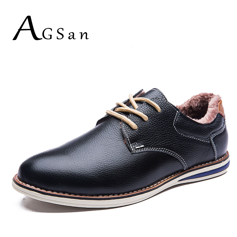 AGSan men shoes winter genuine leather casual shoes lace up keep warm with fur leather footwear black blue brown zapatos hombre new 2017 vintage high top men shoes winter genuine leather fur casual shoes men fashion zapatos hombre warm lace up black mens