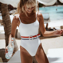 2019 new one-piece swimsuit women sexy backless jumpsuit solid color sling swimwear tights girl summer with belt