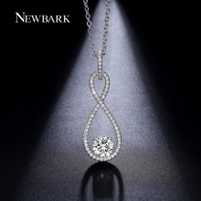 NEWBARK Infinite With Round 2.5 Carat Zircon Bottom Pendant Paved Micro CZ Long Necklace Fashion Jewelry Forever Love