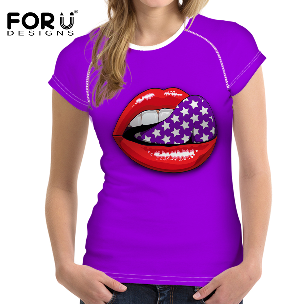 FORUDESIGNS T-shirt Women Sexy O-Neck Summer Clothing Short-sleeve Lip Printed Silky Poleras de Mujer T Shirt 2018 Vogue L