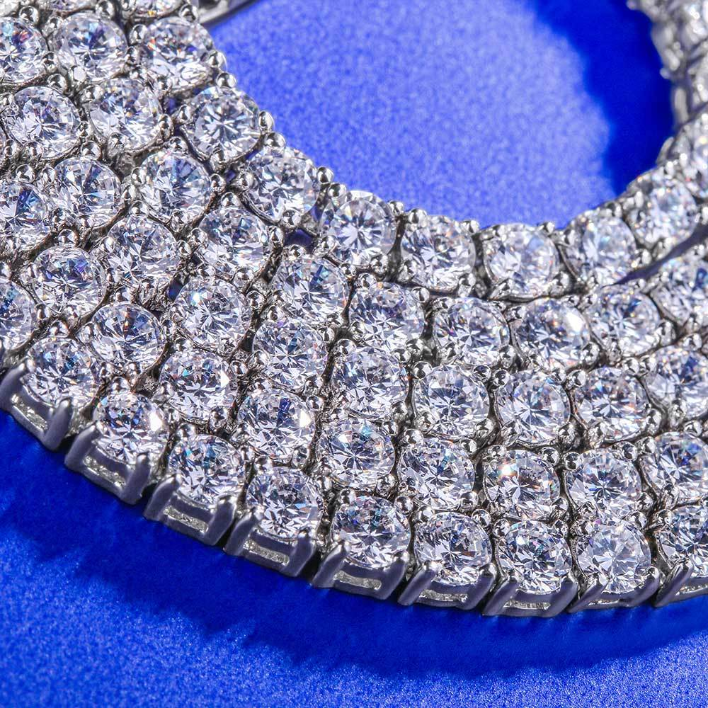 Iced Out Tennis Chain Single Row 3mm Hip Hop Luxury Brand Tennis Chain Silver Mens Necklace CZ Link Hip Hop Street Culture in Chain Necklaces from Jewelry Accessories