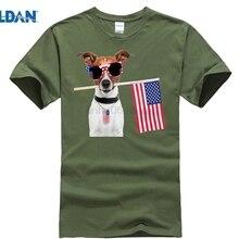 516d7ffc6b745 GILDAN 4th DE JULIO camiseta bandera americana Jack Russel Terrier perro  etiqueta sol hombres camiseta(