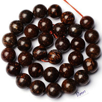 Free Shipping 12mm Smooth Natural Brown Color Bronzite Stone Round Shape Loose Beads Strand 15 Jewellery