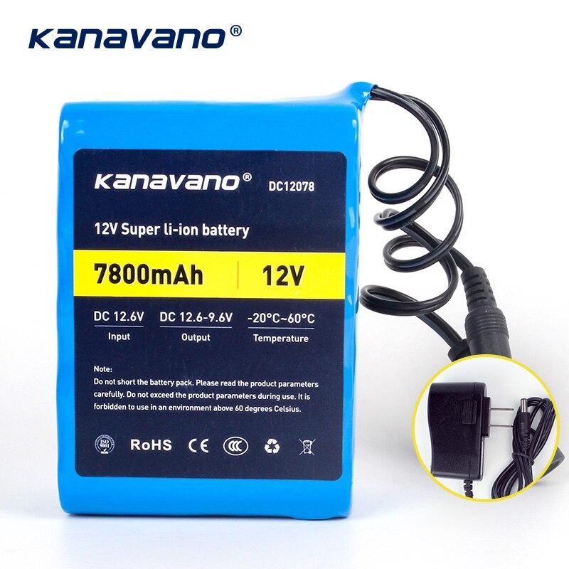 Kanavano 12v 7.8AH 7800mAh 18650 batteries rechargeables 12.6V DC batterie au Lithium protéger et 12.6V 1A chargeur + achats gratuits