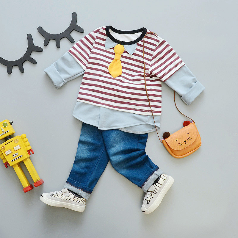 2017 autumn Spring baby boy girl clothes sport suit stripe suit baby clothing set Long sleeve Jean pant Baby boy clothes SKB16 (2)
