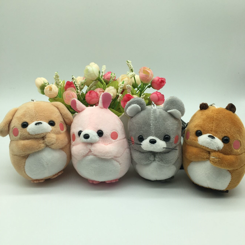 1pc 10cm Lovely Rabbit Plush Toy Soft Stuffed Cartoon Animal Dog/Rabbit/Marmot/Bear Keychain Bag Pendant Doll Kid Christmas Gift