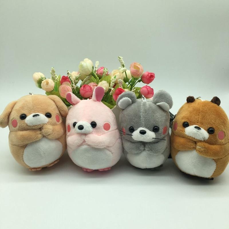 1pc 10cm Lovely Rabbit Plush Toy Soft Stuffed Cartoon Animal Dog/Rabbit/Marmot/Bear Keychain Bag Pendant Doll Kid Christmas Gift