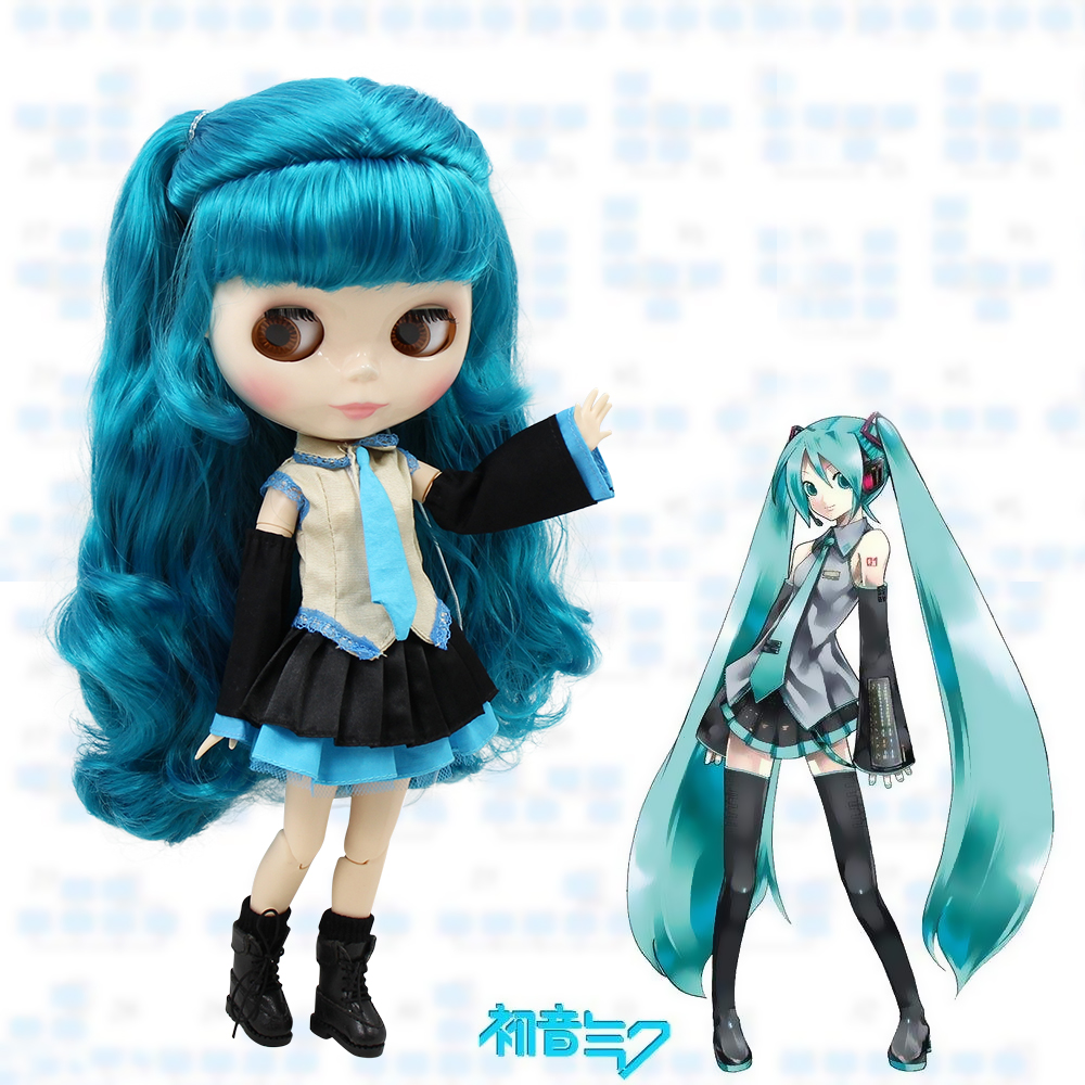 Free shipping factory blyth doll Hatsune Miku blue hair white skin with clothes and boots 1