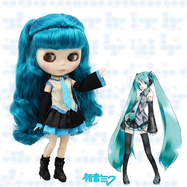 Free shipping factory blyth doll Hatsune Miku blue hair white skin with clothes and boots 1/6 30cm BL4302