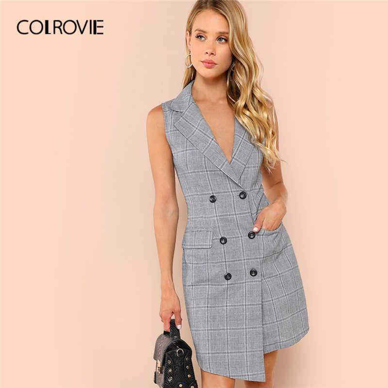 cd2b878b2a8d COLROVIE Plaid Work Wrap Button Pockets Vintage Dress V Neck Shirt Sexy  Dress Women Autumn Elegant