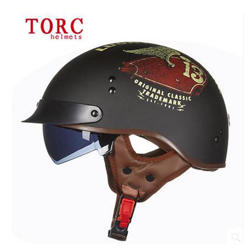 New Torc T-55 retro motorcycle half face helmet With Inner Sun Visor Casco Casque Moto Harley Retro vintage Helmets dot
