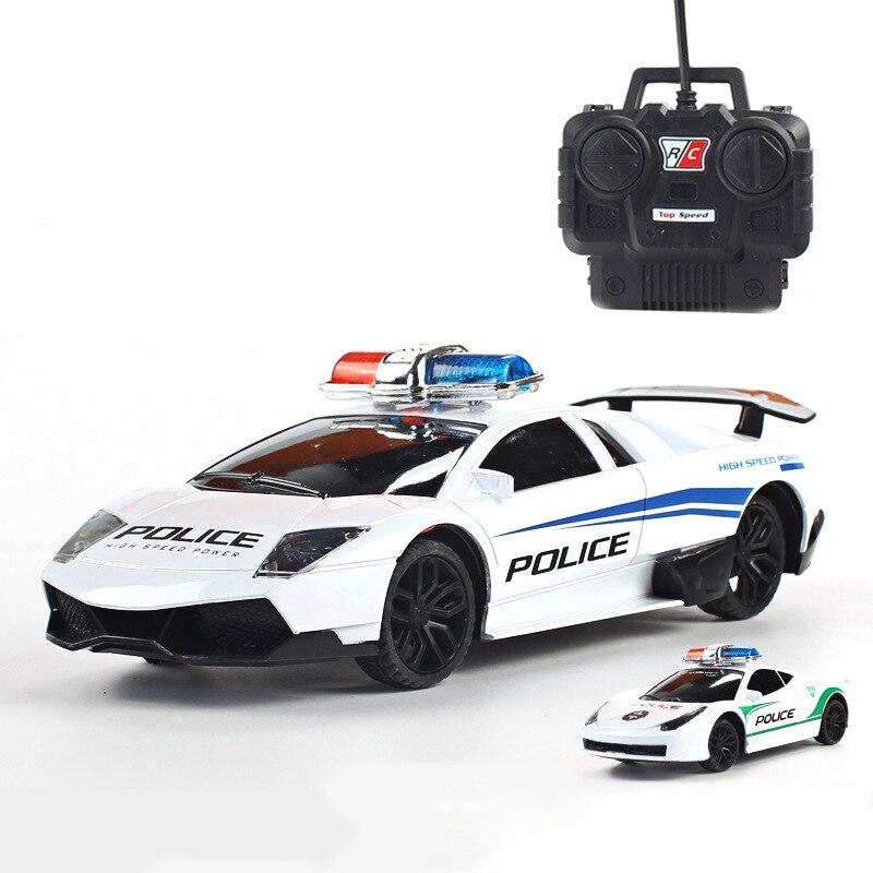 1:24 Modelo RC Carros de Polícia Elétrico 4 canais Carro de Controle Remoto Brinquedos para Meninos Carro de Corrida com Luz Presente de máquinas crianças dos miúdos