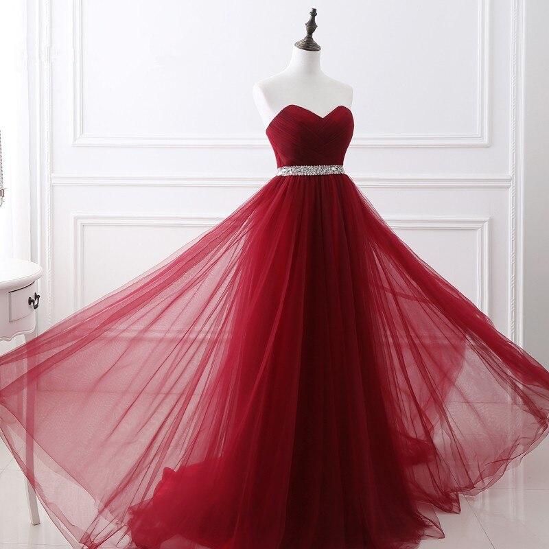 Cheap Sweetheart Long Dresses Evening Wine A Line vestidos De Noite Para A Festa Tulle With