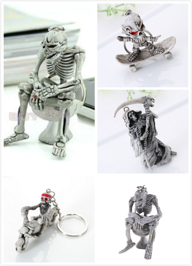 Skull Devil Death Monster Pirate Trinket Men Vintage Silver Rubber Car Key Chain Ring Llaveros Novelty Gift Motor Keychain