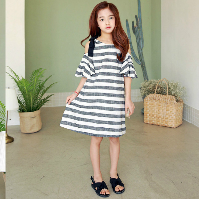 2018 Teens Bohemia Girls Dress Off Shoulder Dresses for Girl 2-13Y Striped Clothes for Teenager Linen Summer Beach Dress CC896 цена