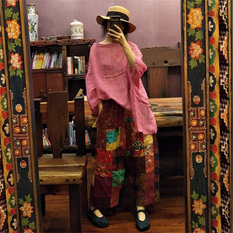 Johnature Women Print Floral Wide Leg Pants Elastic Waist Cotton Linen Trouser 2019 Summer New Loose