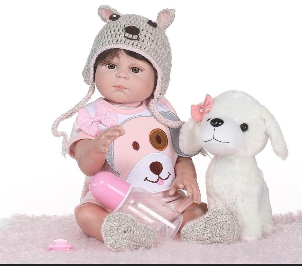 NPK bebé recién nacido muñeca reborn 48 cm 19 pulgadas Reborn Baby girl vida Real muñeca juguetes suave silicona abierto los ojos de cachorro-in Muñecas from Juguetes y pasatiempos    1