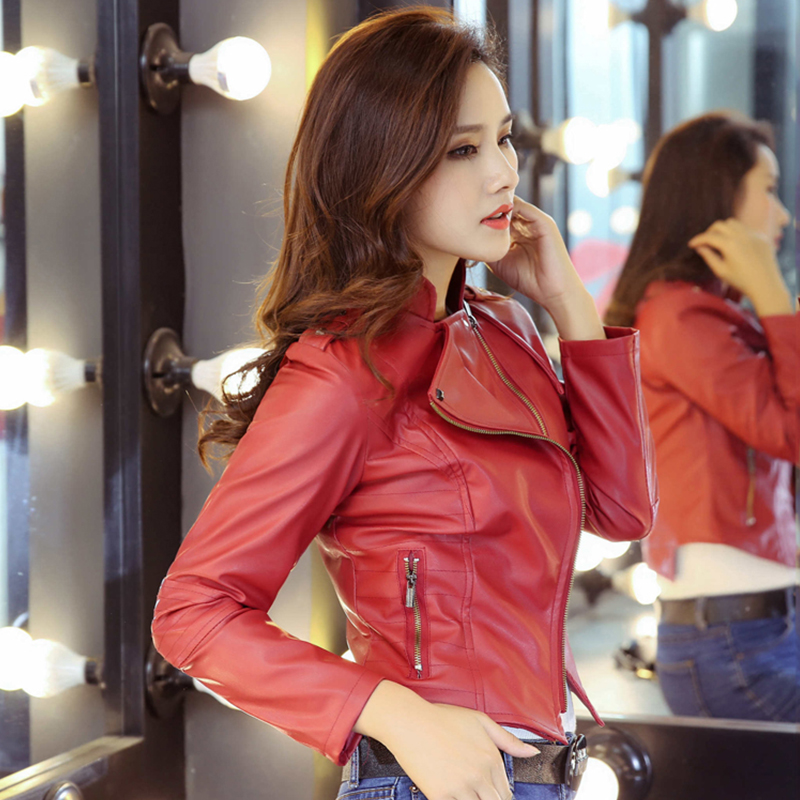 Women Cool Autumn   Leather   Jacket 2019 Faux PU Red Black Ladies Slim Coat Outwear Short Turn Down Collar Jackets