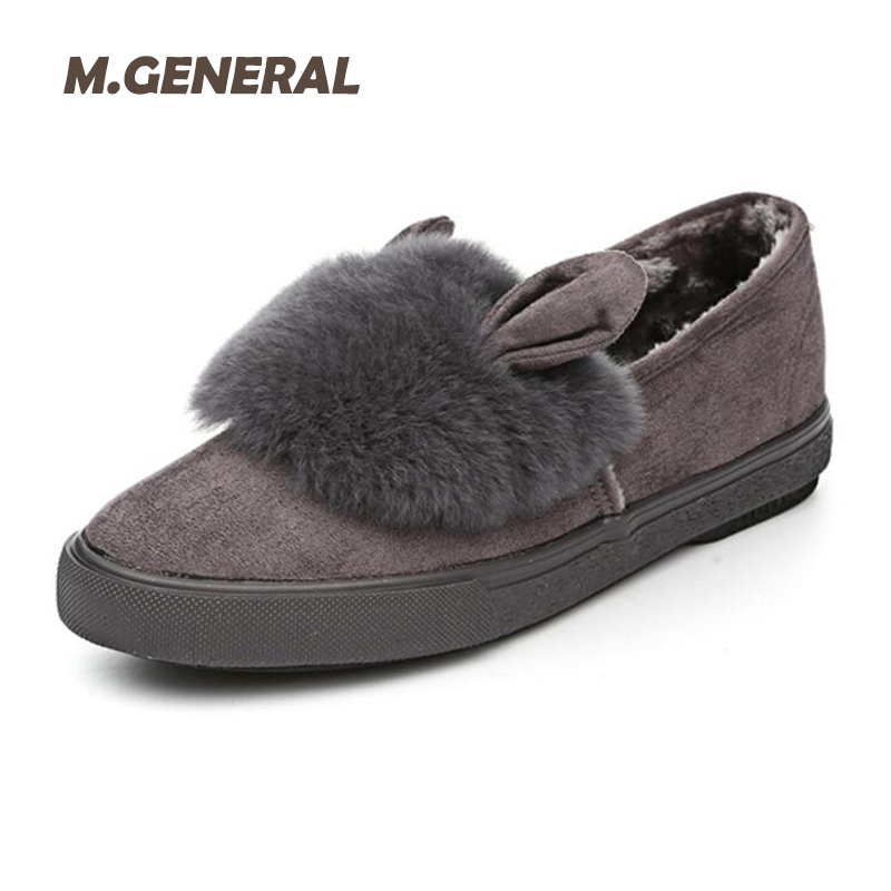 2017 New Winter Women Shoes women Fur Slip On low top Flats With Plush Casual Fashion Women Ankle Boots Warm Women Loafers 7e47 new 2016 european brand designer winter warm flats black leather rabbit fur loafers metal decorated hot sell flat shoes women