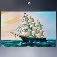 MODERN ABSTRACT HUGE WALL ART OIL PAINTING ON CANVAS ART SAILING BOAT No Frame