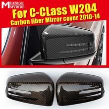 цена на C class W204 Wing Door Mirror Cover Carbon fiber black 2pcs For Mercedes Benz C180 C200 C250 C63AMG style 1:1 Replacement 10-14