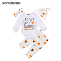 4PCS Thanksgiving Cartoon Romper Pants Leggings Outfits Cute Baby Girls Boys Jumpsuit Clothes