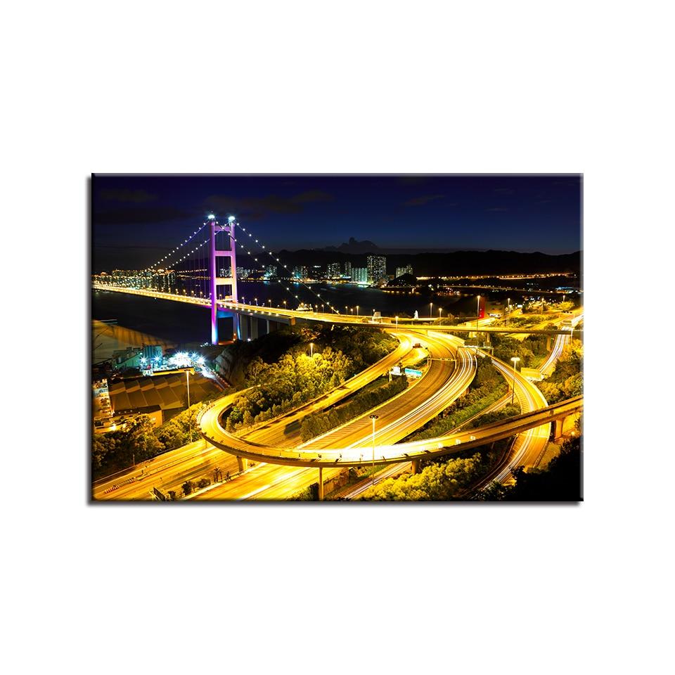 Canvas Poster Home Decor Framework 1 Piece Tsing Ma Bridge Painting ...