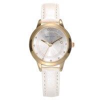 Femme montres casual en cuir trimestre Simple dames horloges de luxe Diamant 30 m imperméable blanc rose rouge brun bande boîte d'origine