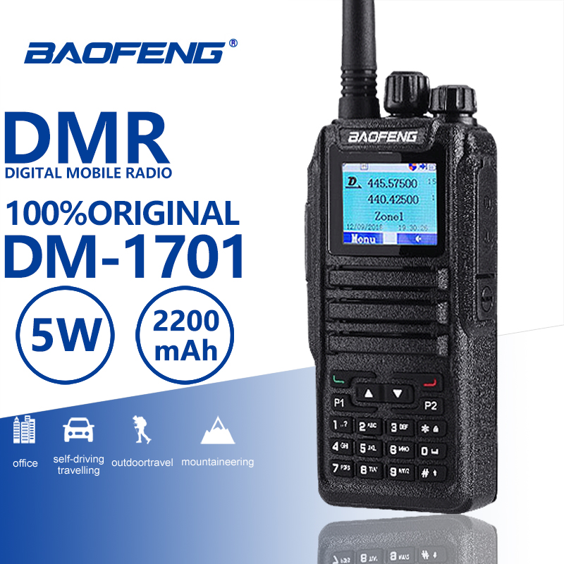 Baofeng Numérique DM-1701 Talkie Walkie Niveau 2 Dual Time Slot Dual Band Two Way Radio DMR Jambon Amateur Radio Station HF Émetteur-Récepteur