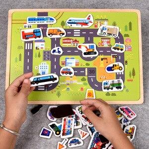 Image 2 - Rompecabezas magnético de madera para niños, juego de animales y vehículos de tráfico, juguetes educativos de aprendizaje preescolar, rompecabezas para niños
